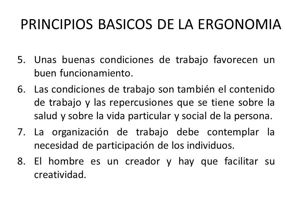 PRINCIPIOS BASICOS DE LA ERGONOMIA 5.Unas buenas condiciones de trabajo favorecen un buen funcionamiento. 6.Las condiciones de trabajo son también el