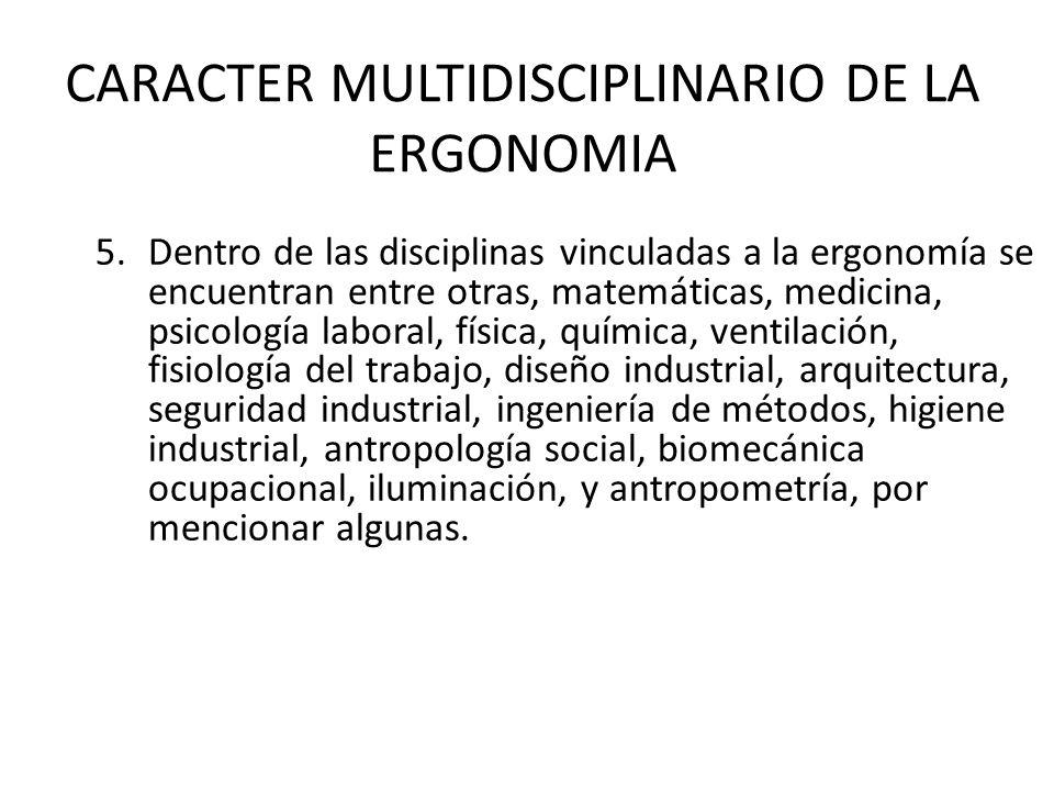 CARACTER MULTIDISCIPLINARIO DE LA ERGONOMIA 5.Dentro de las disciplinas vinculadas a la ergonomía se encuentran entre otras, matemáticas, medicina, ps