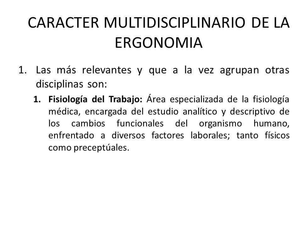 CARACTER MULTIDISCIPLINARIO DE LA ERGONOMIA 1.Las más relevantes y que a la vez agrupan otras disciplinas son: 1.Fisiología del Trabajo: Área especial