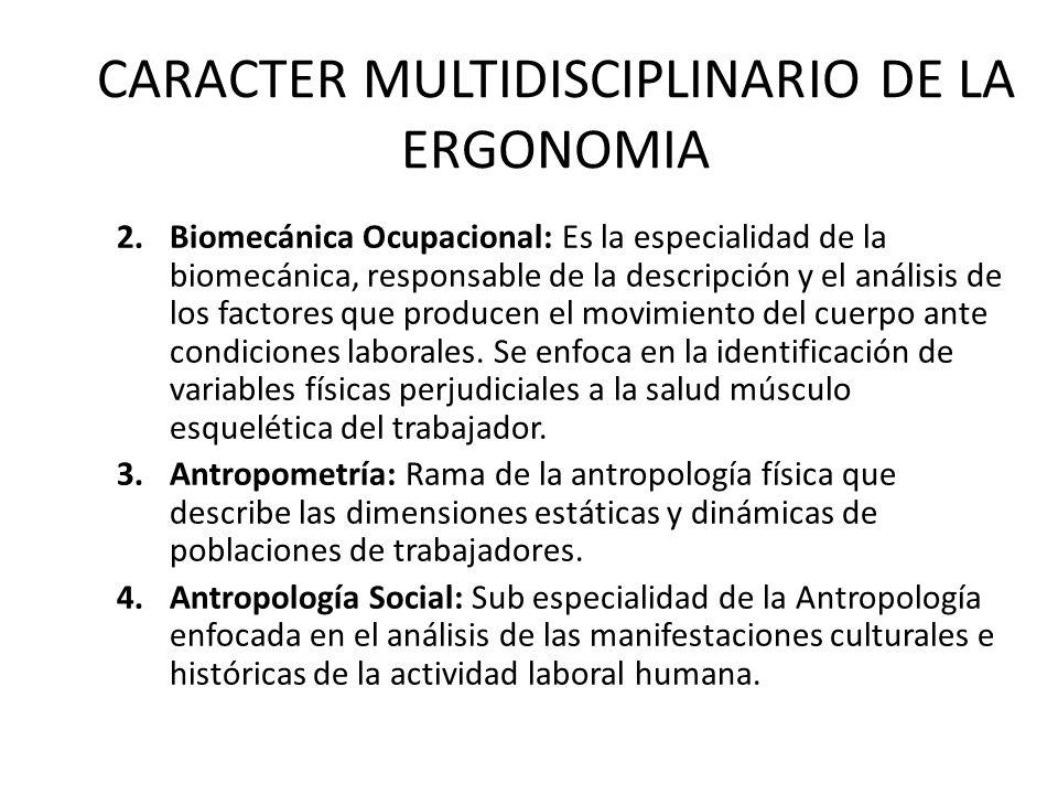 CARACTER MULTIDISCIPLINARIO DE LA ERGONOMIA 2.Biomecánica Ocupacional: Es la especialidad de la biomecánica, responsable de la descripción y el análisis de los factores que producen el movimiento del cuerpo ante condiciones laborales.