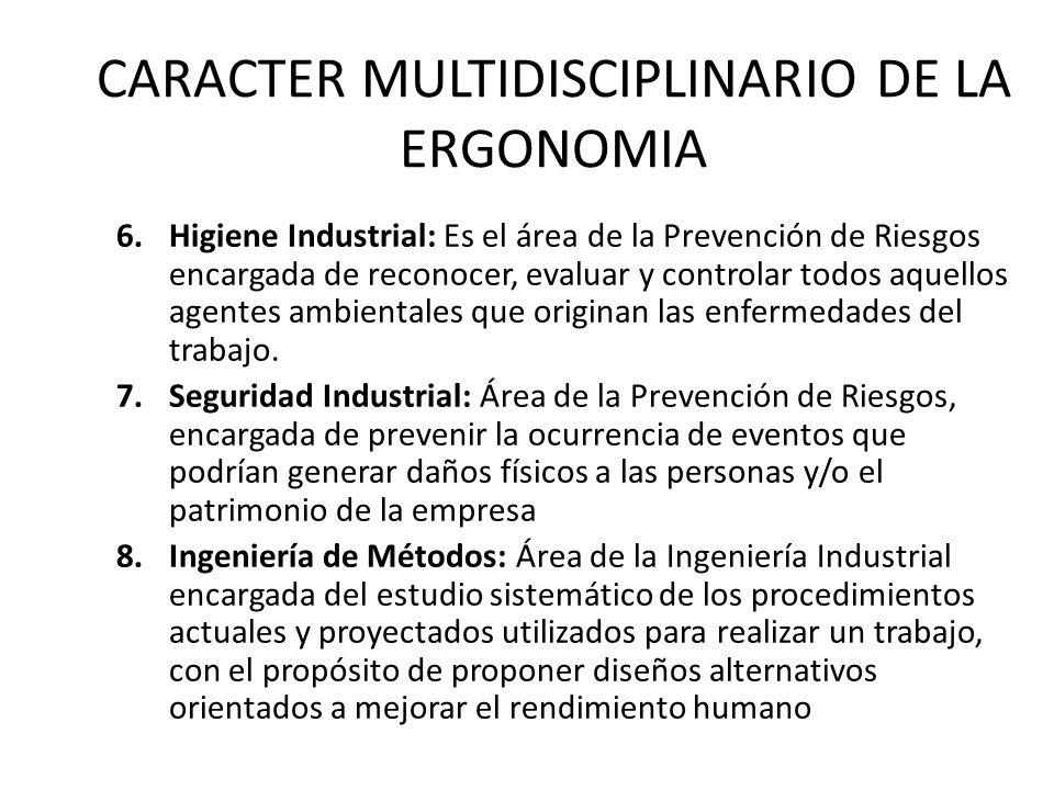 CARACTER MULTIDISCIPLINARIO DE LA ERGONOMIA 6.Higiene Industrial: Es el área de la Prevención de Riesgos encargada de reconocer, evaluar y controlar todos aquellos agentes ambientales que originan las enfermedades del trabajo.