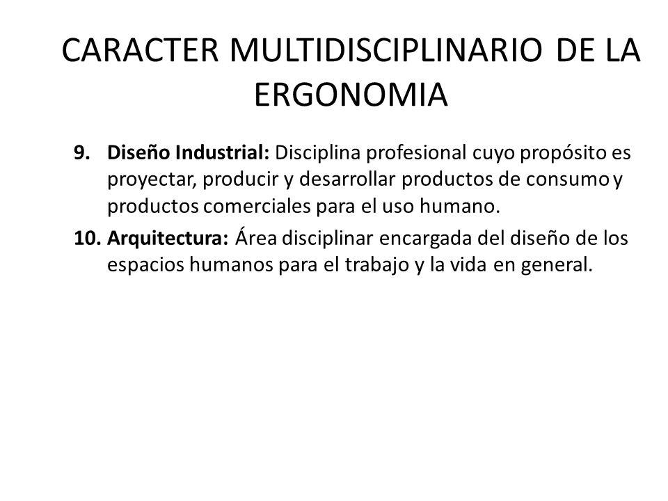 CARACTER MULTIDISCIPLINARIO DE LA ERGONOMIA 9.Diseño Industrial: Disciplina profesional cuyo propósito es proyectar, producir y desarrollar productos de consumo y productos comerciales para el uso humano.