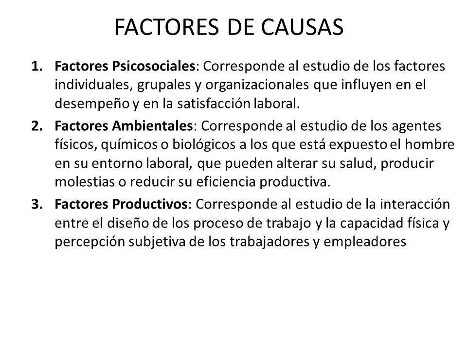 FACTORES DE CAUSAS 1.Factores Psicosociales: Corresponde al estudio de los factores individuales, grupales y organizacionales que influyen en el desempeño y en la satisfacción laboral.