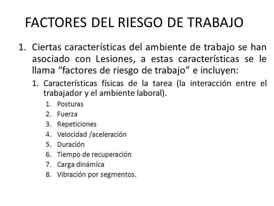 1.Ciertas características del ambiente de trabajo se han asociado con Lesiones, a estas características se le llama factores de riesgo de trabajo e in