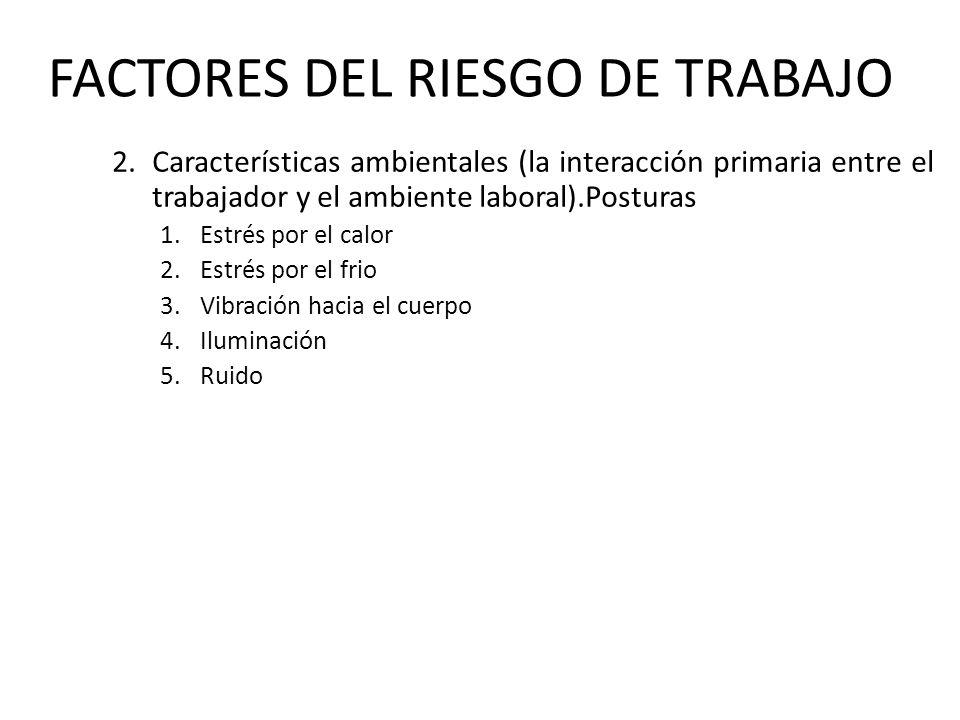 FACTORES DEL RIESGO DE TRABAJO 2.Características ambientales (la interacción primaria entre el trabajador y el ambiente laboral).Posturas 1.Estrés por
