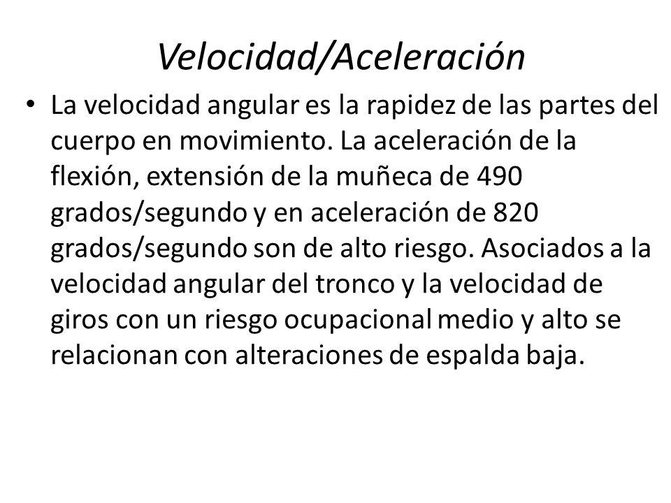 Velocidad/Aceleración La velocidad angular es la rapidez de las partes del cuerpo en movimiento. La aceleración de la flexión, extensión de la muñeca