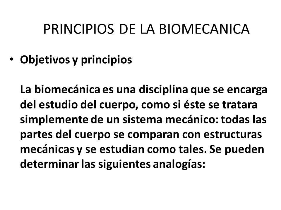 PRINCIPIOS DE LA BIOMECANICA Objetivos y principios La biomecánica es una disciplina que se encarga del estudio del cuerpo, como si éste se tratara simplemente de un sistema mecánico: todas las partes del cuerpo se comparan con estructuras mecánicas y se estudian como tales.