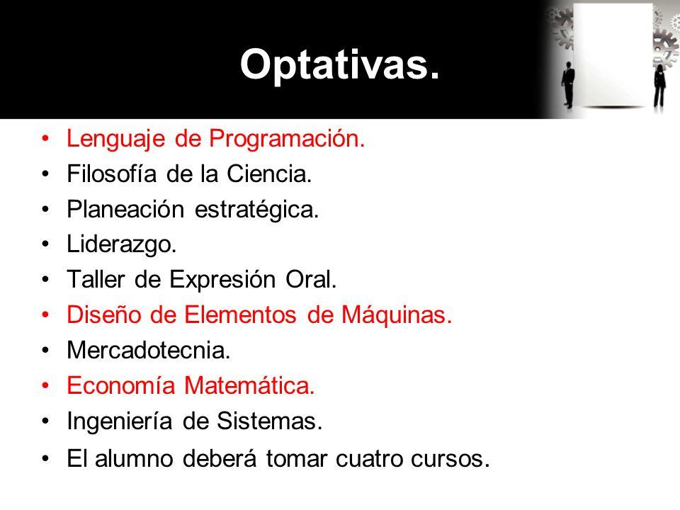 Optativas. Lenguaje de Programación. Filosofía de la Ciencia.