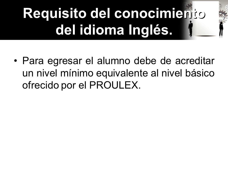 Requisito del conocimiento del idioma Inglés.