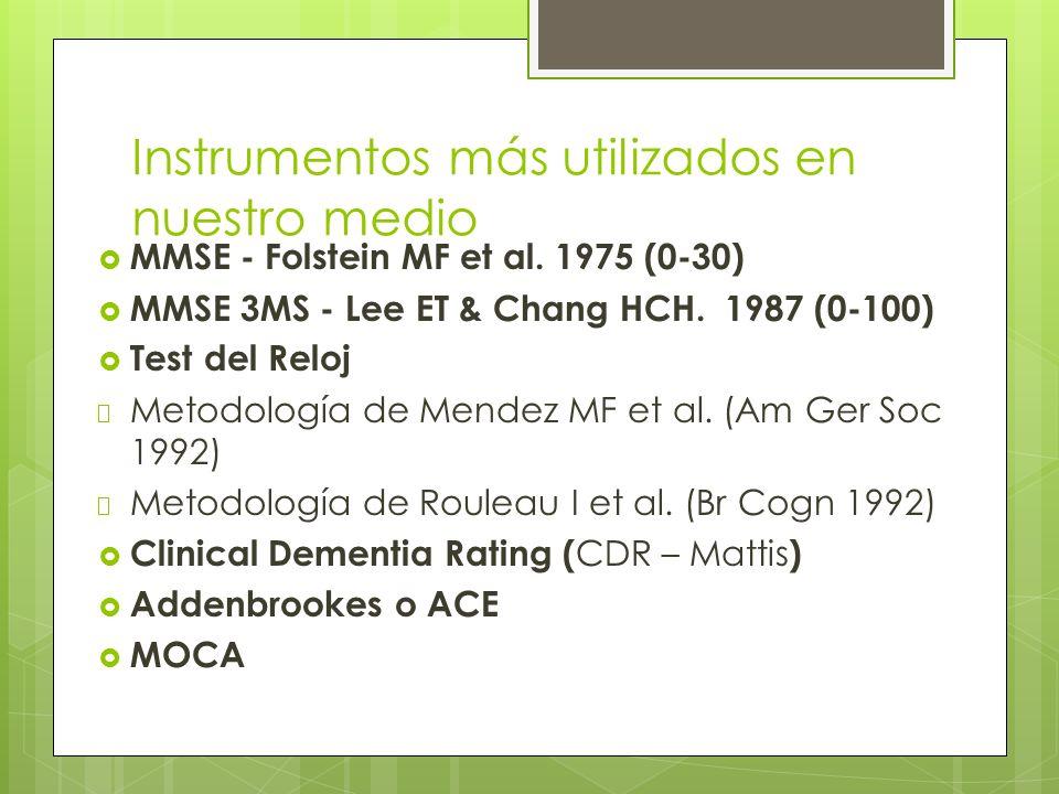 Instrumentos más utilizados en nuestro medio MMSE - Folstein MF et al.