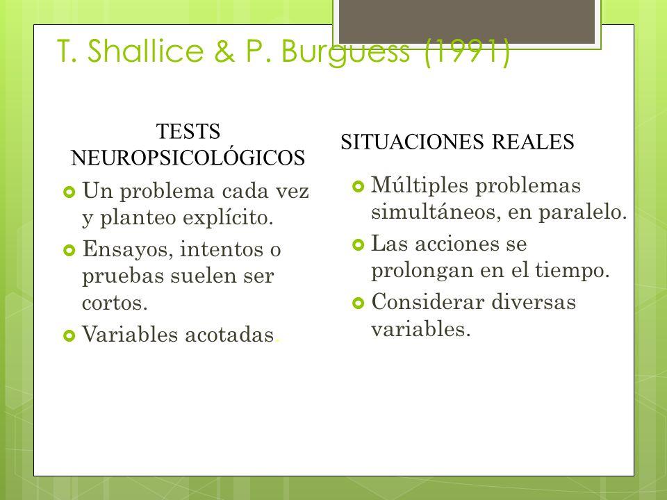 T.Shallice & P. Burguess (1991) Un problema cada vez y planteo explícito.