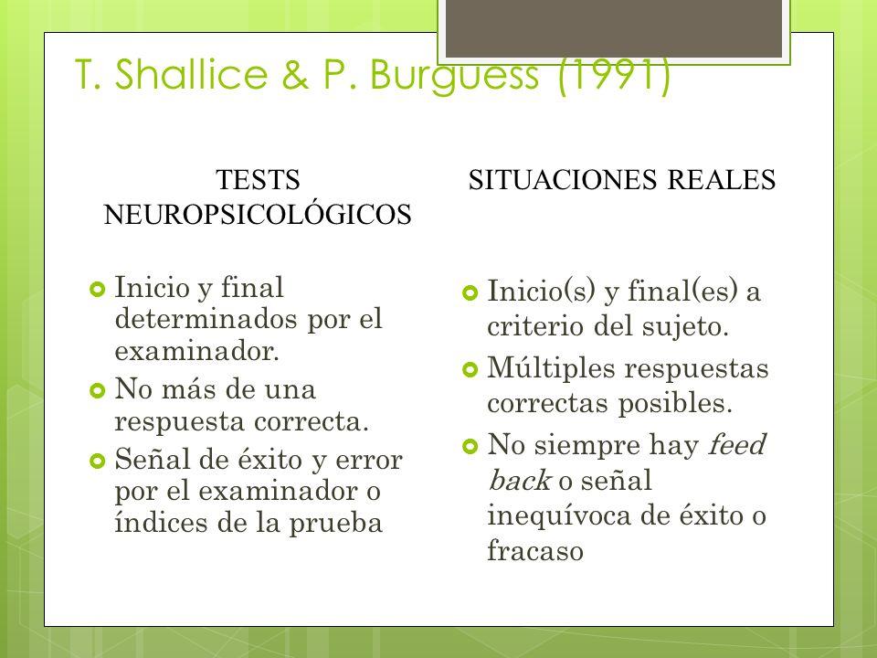 T.Shallice & P. Burguess (1991) Inicio y final determinados por el examinador.