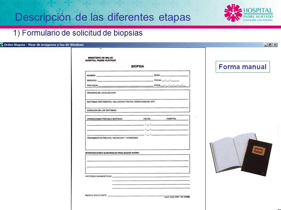 12 1) Formulario de solicitud de biopsias Forma manual Descripción de las diferentes etapas