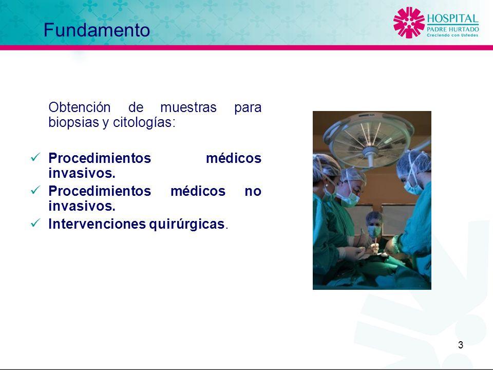 3 Fundamento Obtención de muestras para biopsias y citologías: Procedimientos médicos invasivos. Procedimientos médicos no invasivos. Intervenciones q