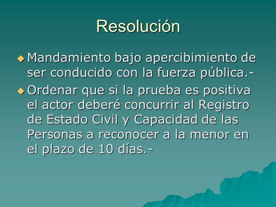Resolución Mandamiento bajo apercibimiento de ser conducido con la fuerza pública.- Mandamiento bajo apercibimiento de ser conducido con la fuerza púb