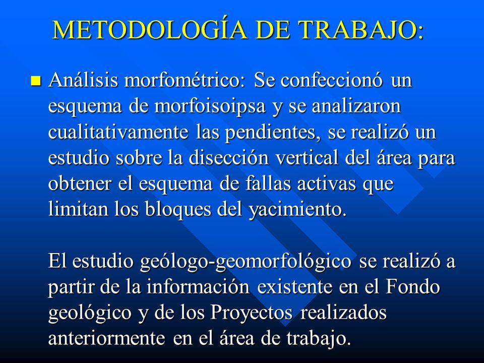 METODOLOGÍA DE TRABAJO: METODOLOGÍA DE TRABAJO: Para conseguir este propósito se realizó un conjunto de investigaciones científicas en el yacimiento y