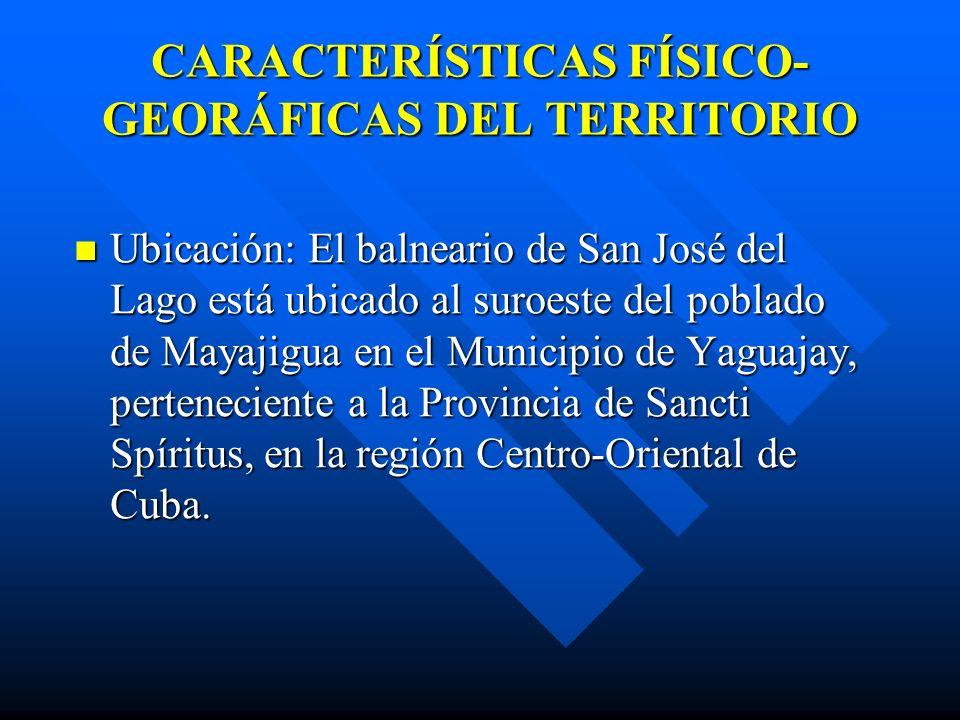 CARACTERÍSTICAS FÍSICO- GEORÁFICAS DEL TERRITORIO Ubicación: El balneario de San José del Lago está ubicado al suroeste del poblado de Mayajigua en el Municipio de Yaguajay, perteneciente a la Provincia de Sancti Spíritus, en la región Centro-Oriental de Cuba.