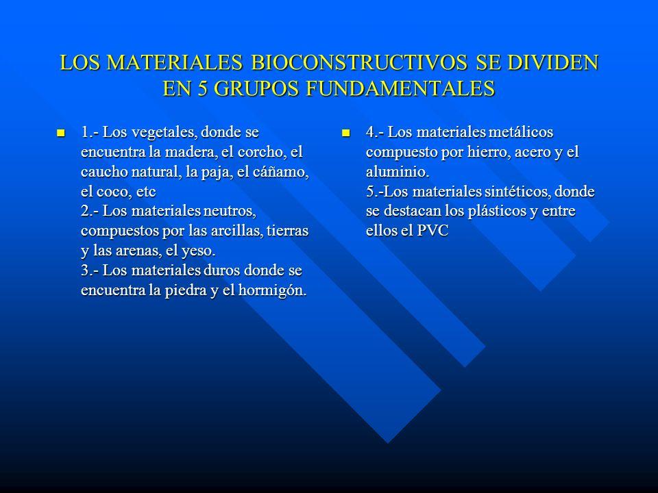 BIOCONSTRUCCION Los materiales de construcción empleados en las obras de carácter ecológicos deben de poseer características bioconstructivas, no debe