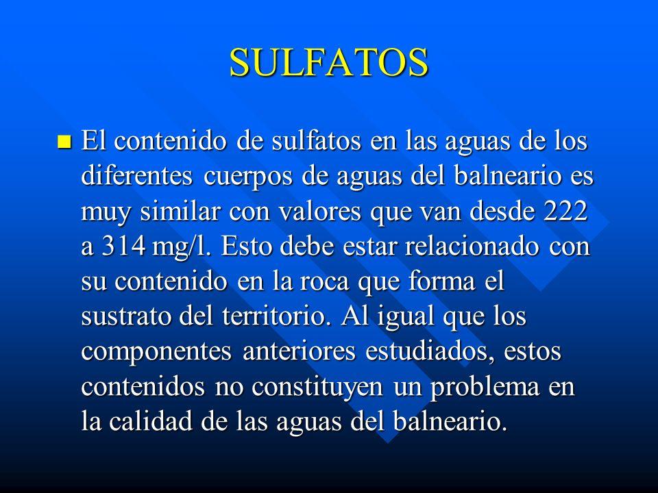 NITRATOS El contenido de nitratos encontrados en las diferentes muestras de aguas del balneario se considera de bajo, por lo que la calidad de las agu