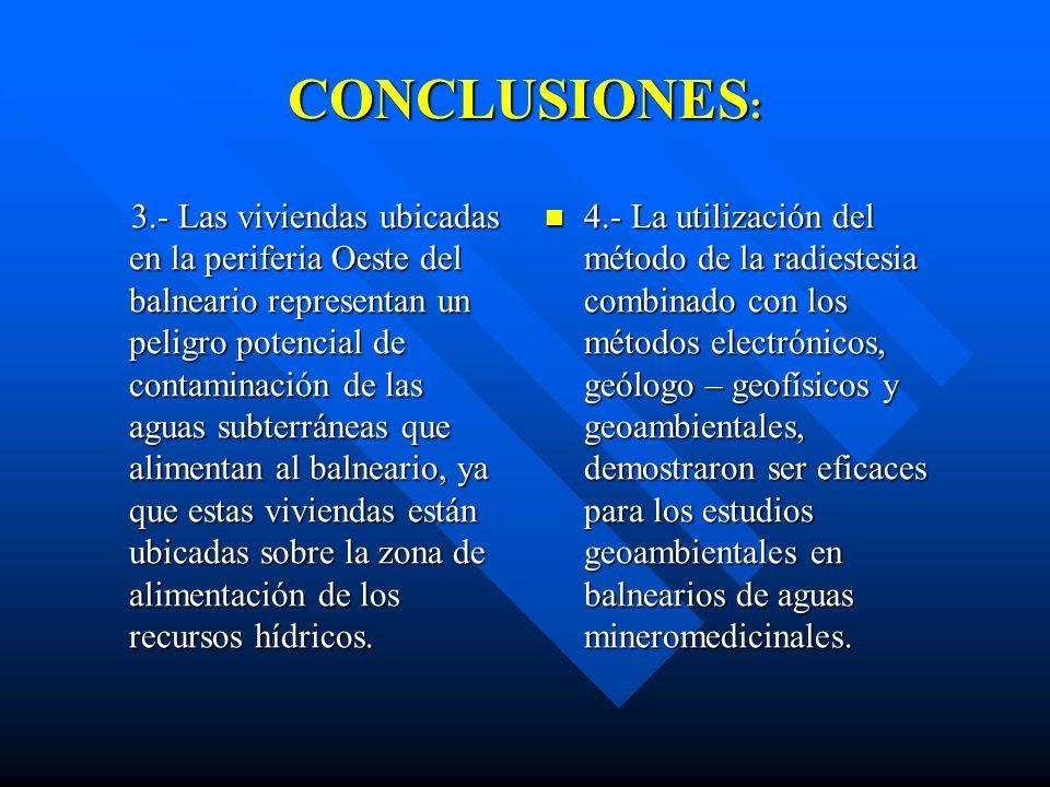 CONCLUSIONES : 1.- En el balneario de San José del Lago, como producto de las investigaciones realizadas, fue detectada la incidencia de factores de r