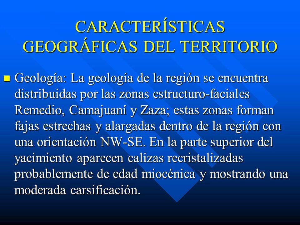 CARACTERÍSTICAS GEOGRÁFICAS DEL TERRITORIO Geología: La geología de la región se encuentra distribuidas por las zonas estructuro-faciales Remedio, Camajuaní y Zaza; estas zonas forman fajas estrechas y alargadas dentro de la región con una orientación NW-SE.