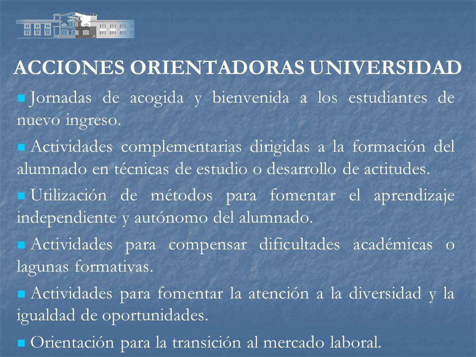 ACCIONES ORIENTADORAS UNIVERSIDAD Jornadas de acogida y bienvenida a los estudiantes de nuevo ingreso. Actividades complementarias dirigidas a la form