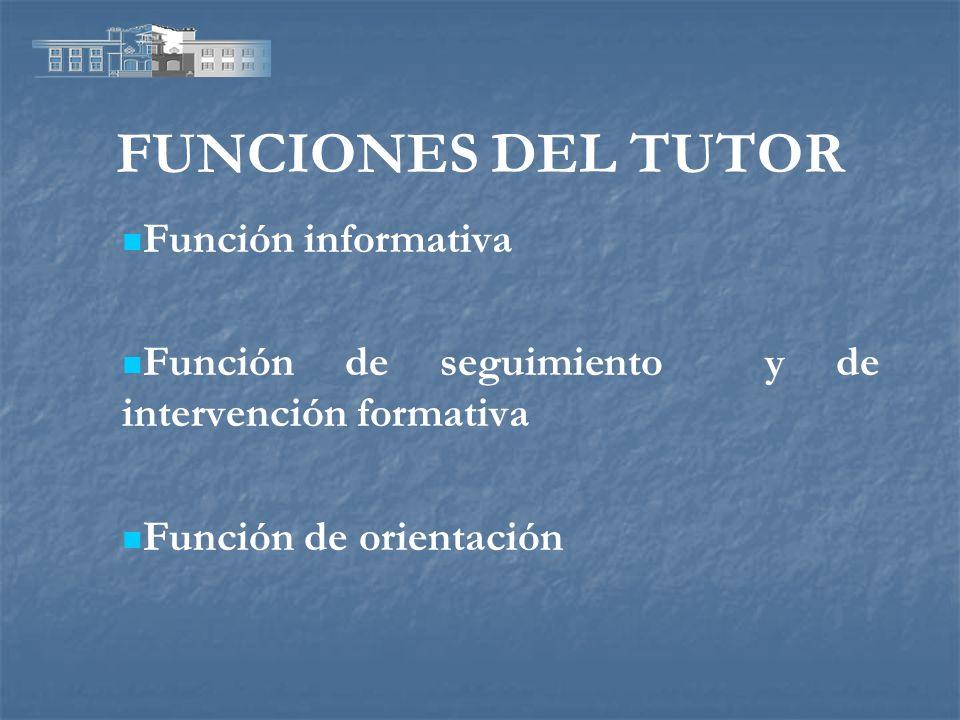 FUNCIONES DEL TUTOR Función informativa Función de seguimiento y de intervención formativa Función de orientación