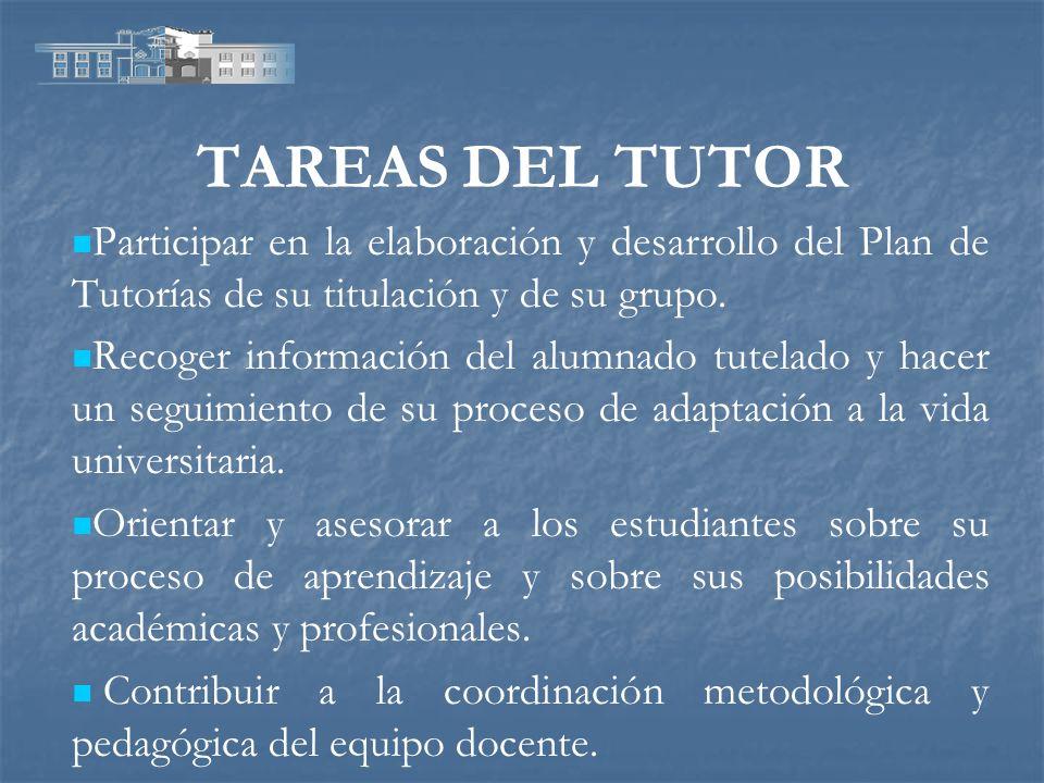 TAREAS DEL TUTOR Participar en la elaboración y desarrollo del Plan de Tutorías de su titulación y de su grupo. Recoger información del alumnado tutel