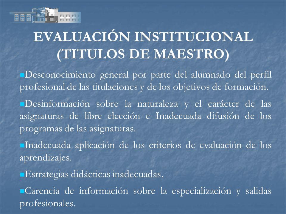 EVALUACIÓN INSTITUCIONAL (TITULOS DE MAESTRO) Desconocimiento general por parte del alumnado del perfil profesional de las titulaciones y de los objet