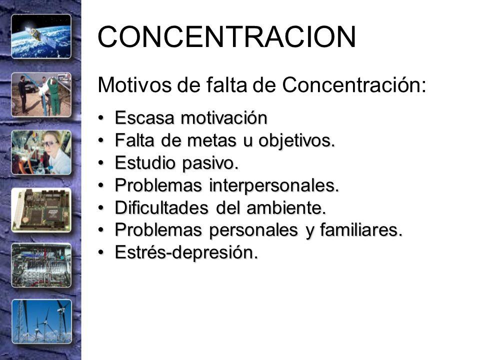 CONCENTRACION Motivos de falta de Concentración: Escasa motivación Escasa motivación Falta de metas u objetivos. Falta de metas u objetivos. Estudio p