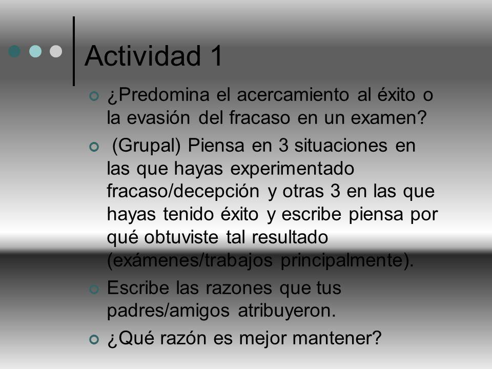 Actividad 1 ¿Predomina el acercamiento al éxito o la evasión del fracaso en un examen? (Grupal) Piensa en 3 situaciones en las que hayas experimentado