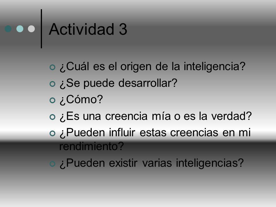 Actividad 3 ¿Cuál es el origen de la inteligencia? ¿Se puede desarrollar? ¿Cómo? ¿Es una creencia mía o es la verdad? ¿Pueden influir estas creencias