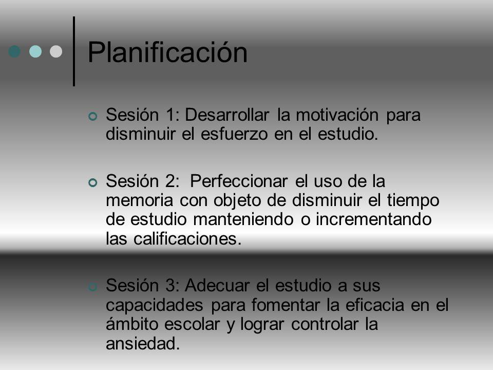Planificación Sesión 1: Desarrollar la motivación para disminuir el esfuerzo en el estudio. Sesión 2: Perfeccionar el uso de la memoria con objeto de