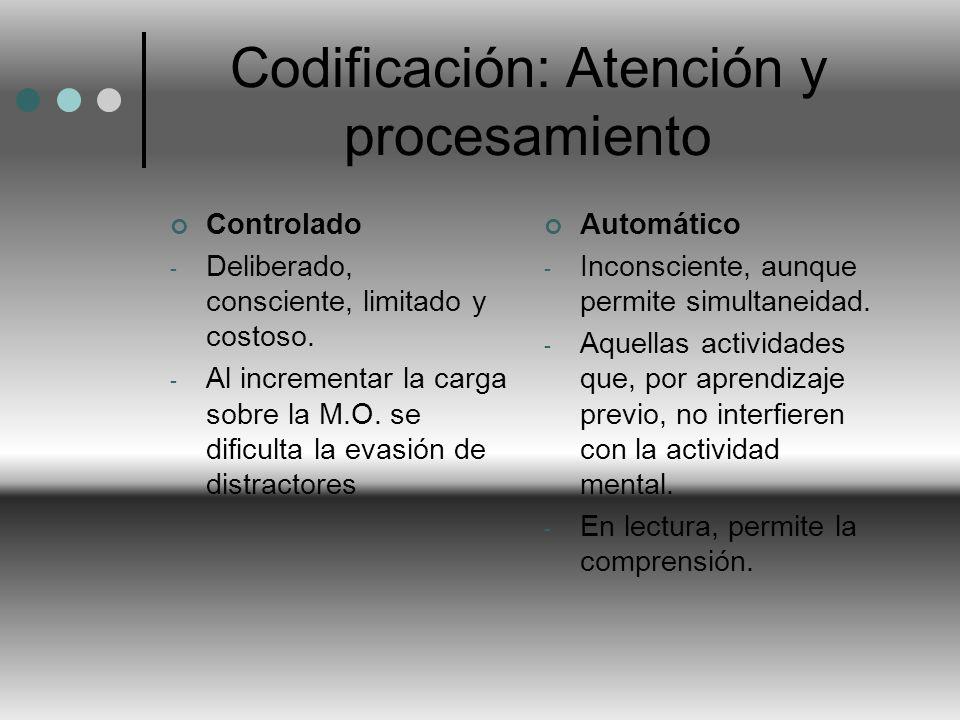 Codificación: Atención y procesamiento Controlado - Deliberado, consciente, limitado y costoso. - Al incrementar la carga sobre la M.O. se dificulta l