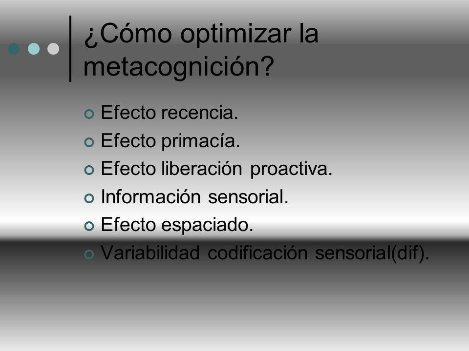¿Cómo optimizar la metacognición? Efecto recencia. Efecto primacía. Efecto liberación proactiva. Información sensorial. Efecto espaciado. Variabilidad
