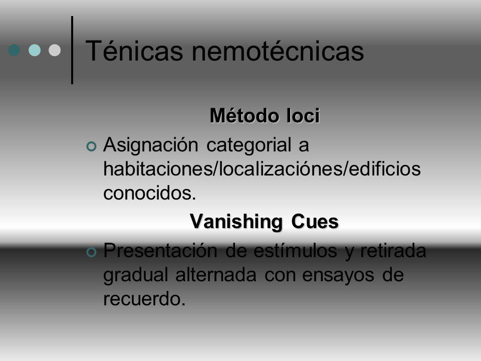 Ténicas nemotécnicas Método loci Asignación categorial a habitaciones/localizaciónes/edificios conocidos. Vanishing Cues Presentación de estímulos y r