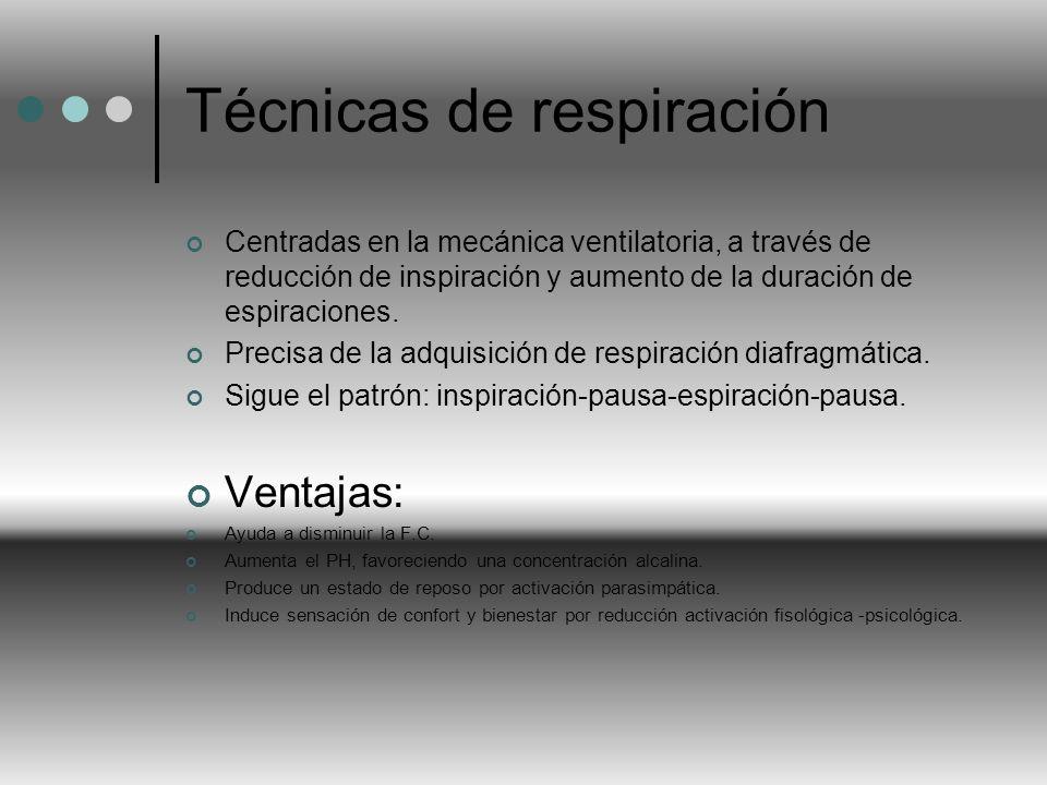 Técnicas de respiración Centradas en la mecánica ventilatoria, a través de reducción de inspiración y aumento de la duración de espiraciones. Precisa