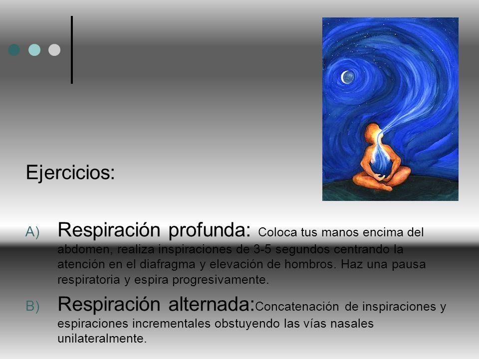 Ejercicios: A) Respiración profunda: Coloca tus manos encima del abdomen, realiza inspiraciones de 3-5 segundos centrando la atención en el diafragma