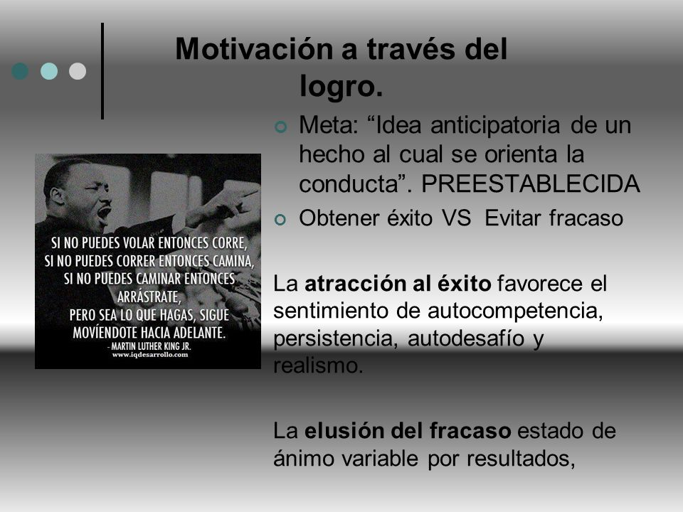 Motivación a través del logro. Meta: Idea anticipatoria de un hecho al cual se orienta la conducta. PREESTABLECIDA Obtener éxito VS Evitar fracaso La