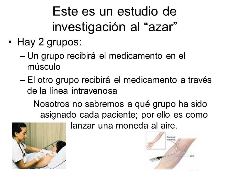 Este es un estudio de investigación al azar Hay 2 grupos: –Un grupo recibirá el medicamento en el músculo –El otro grupo recibirá el medicamento a tra