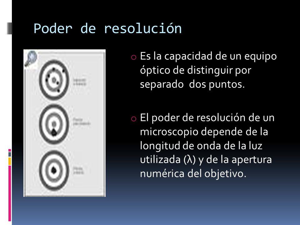 Poder de resolución o Es la capacidad de un equipo óptico de distinguir por separado dos puntos. o El poder de resolución de un microscopio depende de