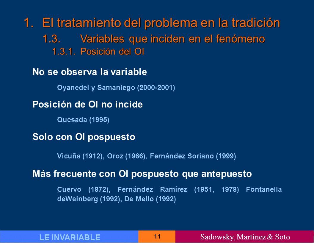 11 LE INVARIABLE Sadowsky, Martínez & Soto 1.El tratamiento del problema en la tradición 1.3.Variables que inciden en el fenómeno 1.3.1.Posición del OI No se observa la variable Oyanedel y Samaniego (2000-2001) Posición de OI no incide Quesada (1995) Solo con OI pospuesto Vicuña (1912), Oroz (1966), Fernández Soriano (1999) Más frecuente con OI pospuesto que antepuesto Cuervo (1872), Fernández Ramírez (1951, 1978) Fontanella deWeinberg (1992), De Mello (1992)