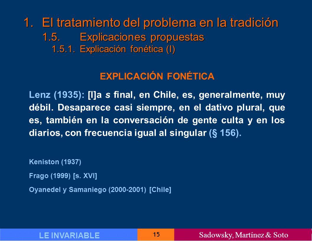 15 LE INVARIABLE Sadowsky, Martínez & Soto 1.El tratamiento del problema en la tradición 1.5.Explicaciones propuestas 1.5.1.Explicación fonética (I) EXPLICACIÓN FONÉTICA Lenz (1935): [l]a s final, en Chile, es, generalmente, muy débil.
