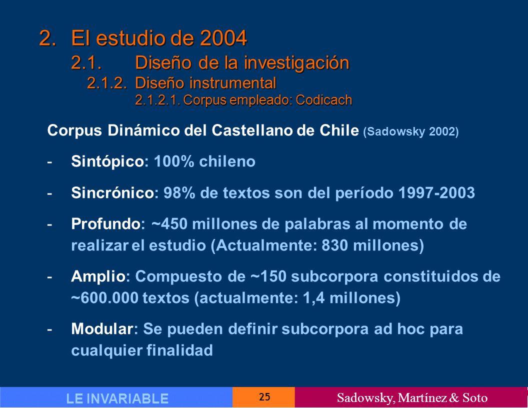 25 LE INVARIABLE Sadowsky, Martínez & Soto 2.El estudio de 2004 2.1.Diseño de la investigación 2.1.2.Diseño instrumental 2.1.2.1.Corpus empleado: Codicach Corpus Dinámico del Castellano de Chile (Sadowsky 2002) -Sintópico: 100% chileno -Sincrónico: 98% de textos son del período 1997-2003 -Profundo: ~450 millones de palabras al momento de realizar el estudio (Actualmente: 830 millones) -Amplio: Compuesto de ~150 subcorpora constituidos de ~600.000 textos (actualmente: 1,4 millones) -Modular: Se pueden definir subcorpora ad hoc para cualquier finalidad