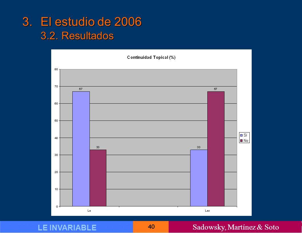 40 LE INVARIABLE Sadowsky, Martínez & Soto 3.El estudio de 2006 3.2. Resultados