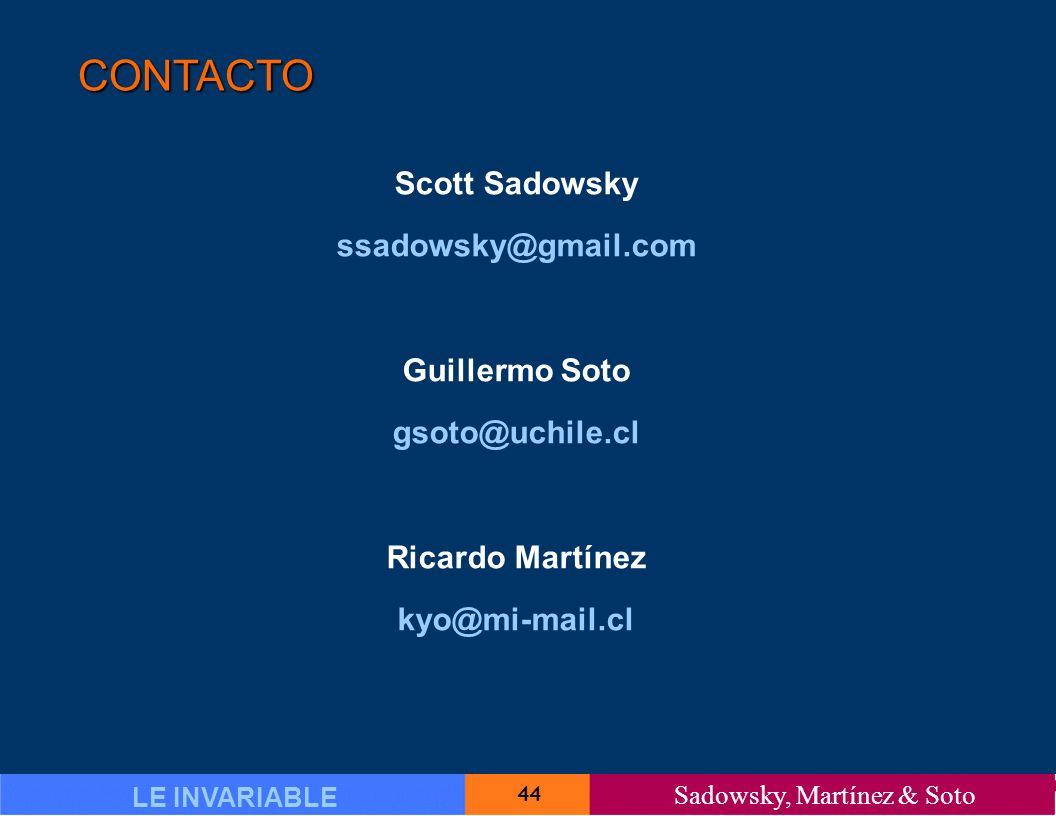 44 LE INVARIABLE Sadowsky, Martínez & Soto CONTACTO Scott Sadowsky ssadowsky@gmail.com Guillermo Soto gsoto@uchile.cl Ricardo Martínez kyo@mi-mail.cl