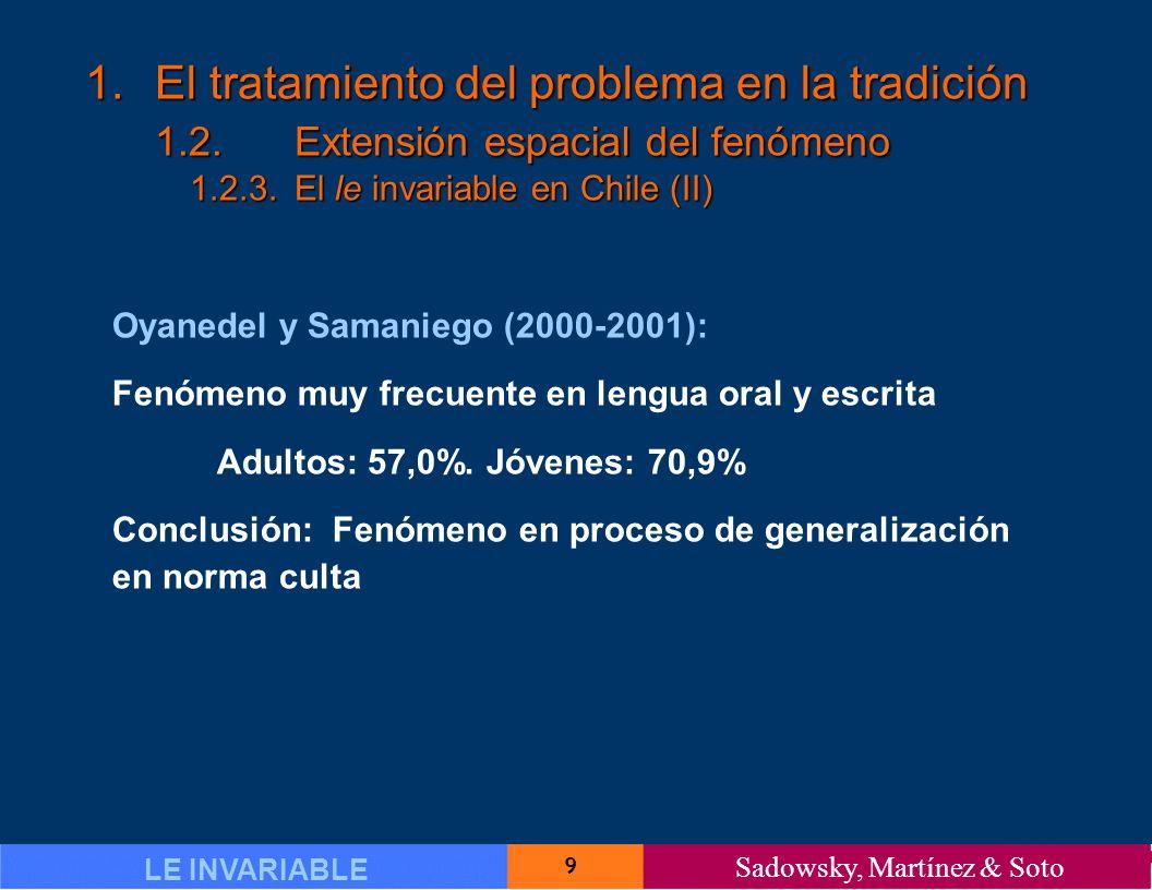 9 LE INVARIABLE Sadowsky, Martínez & Soto 1.El tratamiento del problema en la tradición 1.2.Extensión espacial del fenómeno 1.2.3.El le invariable en Chile (II) Oyanedel y Samaniego (2000-2001): Fenómeno muy frecuente en lengua oral y escrita Adultos: 57,0%.
