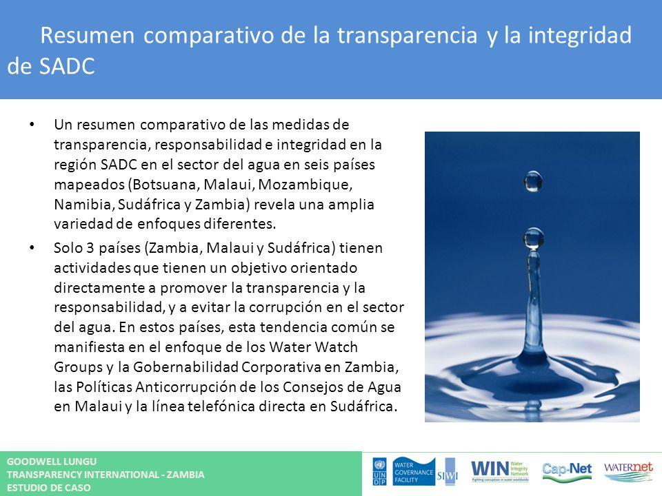 Resumen comparativo de la transparencia y la integridad de SADC Un resumen comparativo de las medidas de transparencia, responsabilidad e integridad e