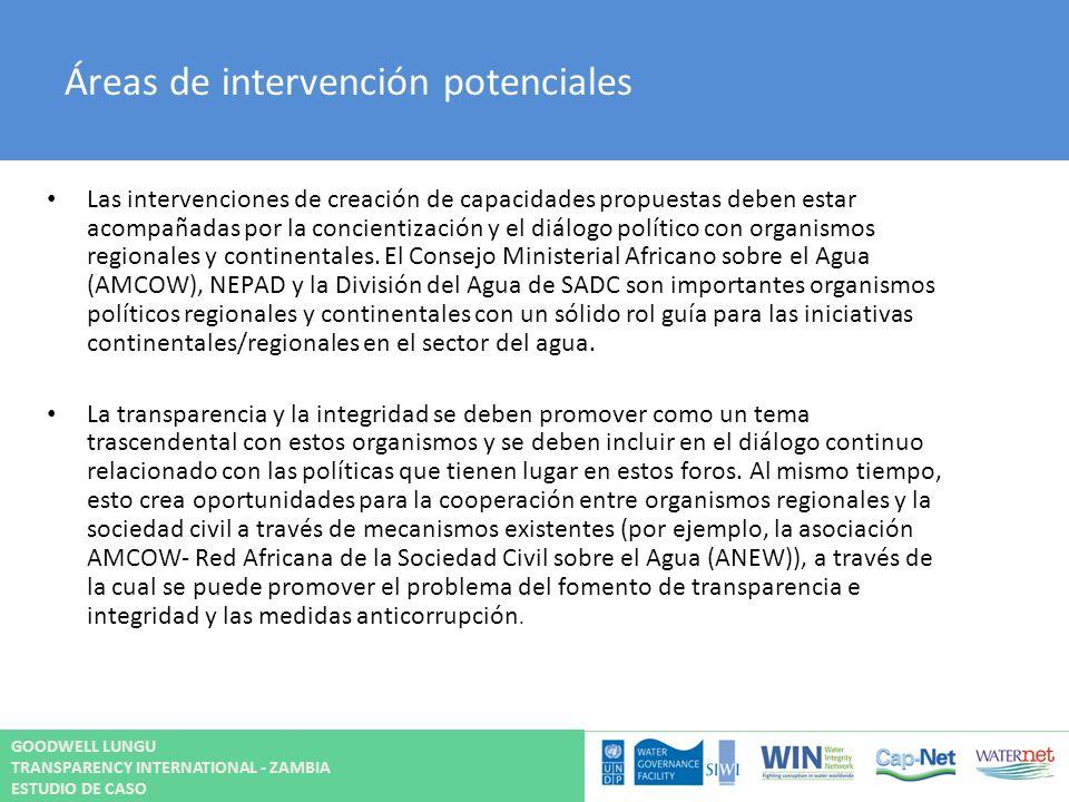 Áreas de intervención potenciales Las intervenciones de creación de capacidades propuestas deben estar acompañadas por la concientización y el diálogo
