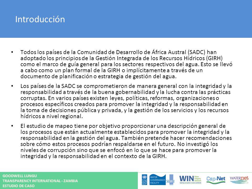 Introducción Todos los países de la Comunidad de Desarrollo de África Austral (SADC) han adoptado los principios de la Gestión Integrada de los Recurs
